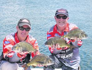 Champion Anglers Brad Hodges and Mike Hodges from Team Berkley display the quality Werribee River Bream that won them the tournament and also the Maria Lures Best Bag.