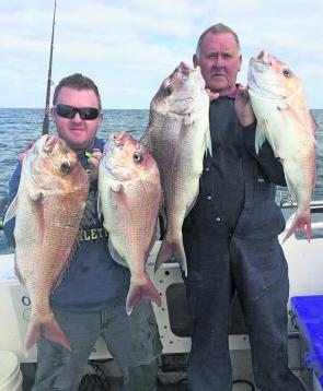 Clients of Magnet Fishing Charters display part of their catch taken under the under the guidance of local snapper guru and charter skipper Jason Farrugia.