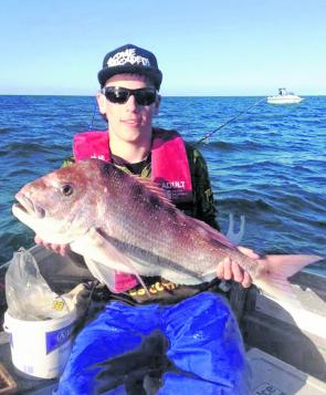 Young gun Nick Whelan took snapper to 7.5kg on silver whiting and squid along the edge of the channel in 10m of water on Corio Bay.
