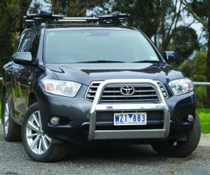 Looking the part, an ARB nudge bar dresses up the front of a Toyota Kluger.