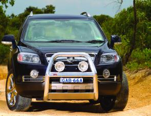 Stylish and practical, an ARB nudge bar supports driving lights on a Holden Captiva.