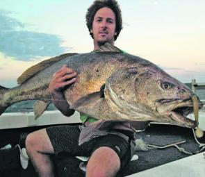 Vaughan Little with his 47.5kg Shoalhaven River jewie of a lifetime, caught solo.