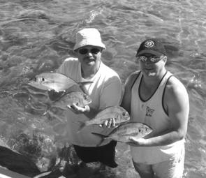 These two visiting Ringwood anglers managed a fine bag of silver trevally and pinkies in 5m of water, near Inverloch.