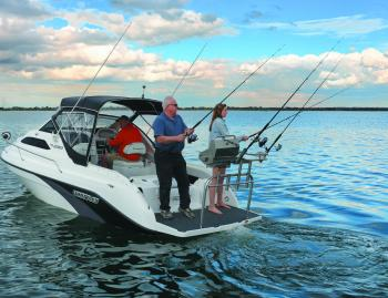 The Whittley CR2180 is a cruising boat with some fishing chops. Cleverly, it separates the messy stuff, like fishing and BBQing, onto the duckboard.