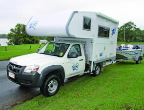 The Ozcamp slide on camper offers the complete package for travelling anglers; a comfortable camper that also allows a boat to be towed.