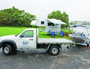 The slide on camper slides off quickly and easily, which makes launching a boat hassle free.