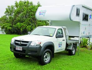 The slide on camper is simply raised off the ute tray, and stands alone.