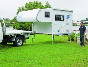 Each leg of the camper can be adjusted, enabling it to sit level on uneven ground.