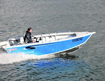 Stacer's Outlaw is a conventional dinghy that fulfils most estuary fishing requirements. Note the side console driving position.
