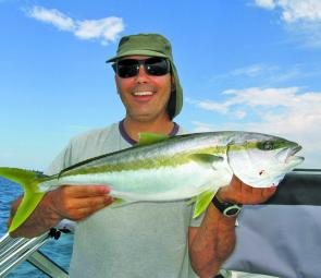 Andrew Houser landed this 79cm kingfish after a 20-minute battle on 3kg line.