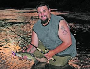 The author with a small protected trout cod. This fish fell to a 3/8oz Mudguts spinnerbait while targeting Murray cod and was released as soon as this photo was taken.