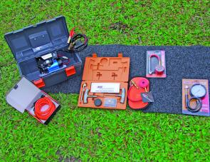 From left: the ARB high output compressor, Speedy Seal kit, E-Z tyre deflator, Low Pressure gauge.