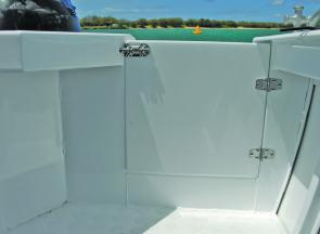 A large transom door allows easy access or a handy place to bring the really big fish in.