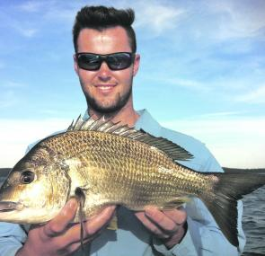 Adam Bertoldo caught and released this thumping Basin bream that went 44cm.