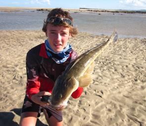 Connor with a very nice flathead from Sandy Point