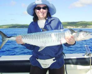 A typical Spanish mackerel that will turn up east of south passage bar at this time of year.