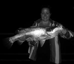 Jasmine Jones with a barra caught at night – make sure they are released in good health during the closed season.