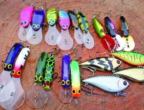 A selection of the author's favourite trolling lures for Spring golden perch at Blowering Dam. From left, top: Pairs of Viking 60mm Talisman, Viking 50mm Talisman and Viking 60mm Crank Minnows and a trio of Trollcraft Double Downers; bottom, six 50mm AC S