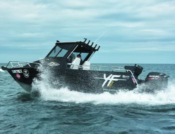 On or off the trailer, the Quintrex Yellowfin 7400 is an impressive craft. Powered by twin 115hp Suzuki 4-strokes, it's remarkably economical for a hull of its length, delivering nearly 2km/L at 3000rpm.