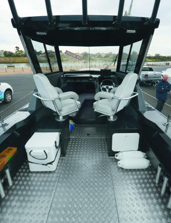 Comfortable helm chairs provide superior comfort to the captain and passenger.