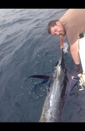 BJ Davidson with his Lakes Entrance marlin prior to release.
