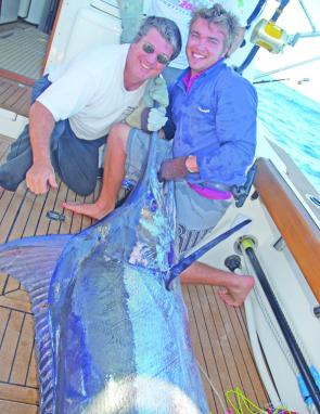 Brad and Ben Job caught this winter blue marlin, 160kg, on a lumo white Star lure, a new range of trolling lures coming from South Africa.