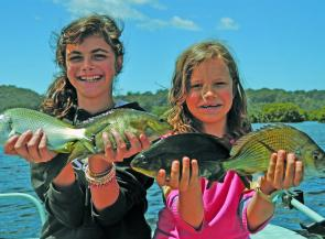 Renia and Mischa Korvin have loads of Summer fun in the Bermagui River.