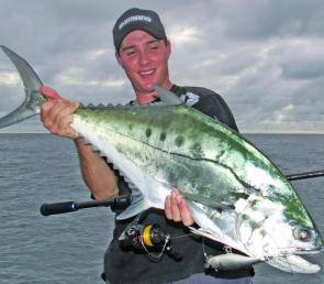 This queenfish attacked a fast retrieved Rapala Skitter Pop surface popper.