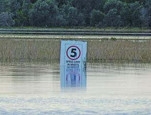 The 5knot sign shows just how much Lake Tyers has risen since the rain.