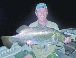 Tourist, Shane Bradley, caught this monster barra in the harbour.