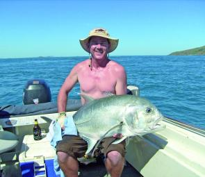 This giant trevally was caught by eric o'sullivan at the headlands, which fish well during the floodwater run-off.