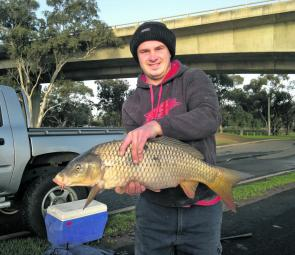 Tom regularly fishes the Barwon for big carp.