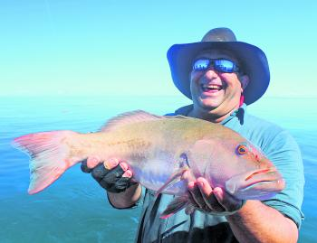 Coral trout whisperer Rob Murolo displays a beautiful specimen caught in perfect weather!