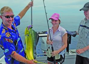 Shelly Christie with a Mahi mahi – these fish will be the main species to chase on the offshore grounds this month.