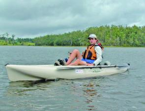 A cruising speed of 5km/h is easily achievable in the pedal-powered Hobie Outback.
