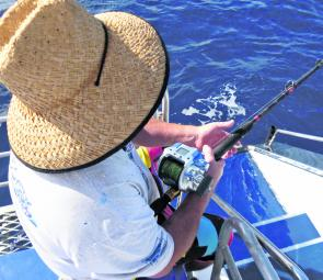 The basic electric reels are fished off a typical reef fishing bottom-bouncing rod; in this case a Live Fibre 15-24kg rod.