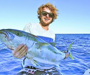Josh Donnelly with a monster king from the cliffs off Jervis Bay. This month they'll be out towards the 100m line.
