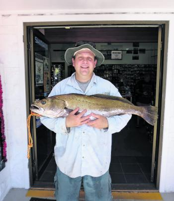 A decent size mulloway puts a happy smile on the face of this local angler.