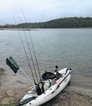 This is the kayak set-up the author uses for Lake Cathie.