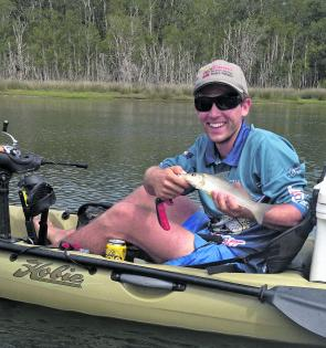 Ryan with a whiting caught on a Castaway estuary charter.