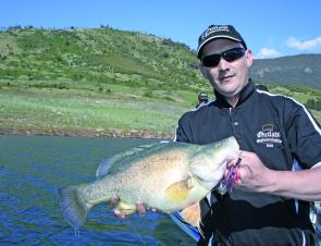 Dean Buckley displays the 52cm Blowering golden he caught on a recent trip with the author. There's video on YouTube.
