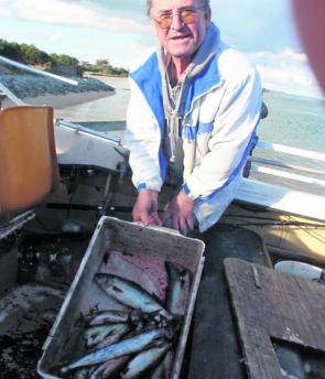 Mike Karis looks happy with some of the fish he and a mate caught at Anderson Inlet.