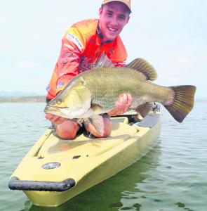 The Hobie Pro Angler is the ultimate fishing kayak for the barra lakes. Perfect for sneaking up on this 65cm Peter Faust Dam fish with help from the hands-free Mirage Drive.