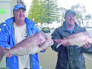 Craig Wilson and Dean Howard from Kurri Kurri with some snapper caught on soft plastics.