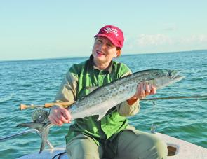 Denise Kampe wanted to catch a Moreton Bay mackerel for her birthday and there's the result.
