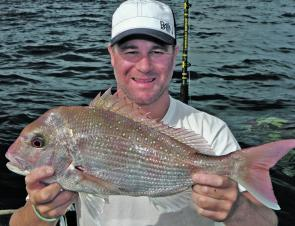 The offshore reefs at Cape Patton and Cape Otway have been covered in hungry snapper schools, here Phillip Partington shows off an average-sized specimen.