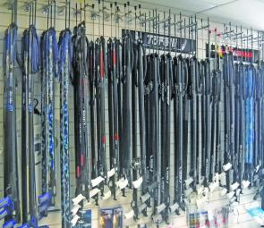 A well stocked speargun rack at Legendary Skindiving Equipment, Brunswick, Victoria.