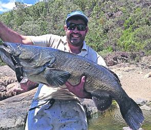 Damian Book sporting some of the quality clarence river mulloway that can be spun up in mullet season.1