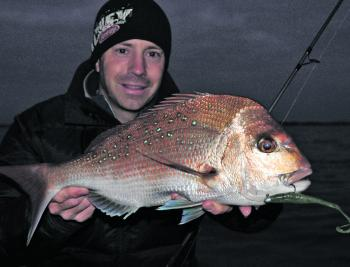 Although it can get bitterly cold, fishing for pinkie snapper after dark is highly productive during winter. This one snatched a Gulp Alive Crazy Legs Jerk Shad in 6m of water.