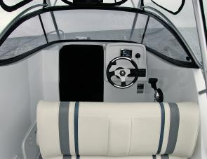 Helm seating within the Black Rhino is per customer specs; this unit had a fore / aft bolster seat fitted for skipper and mate. The large cabin offered room to sleep or store gear.